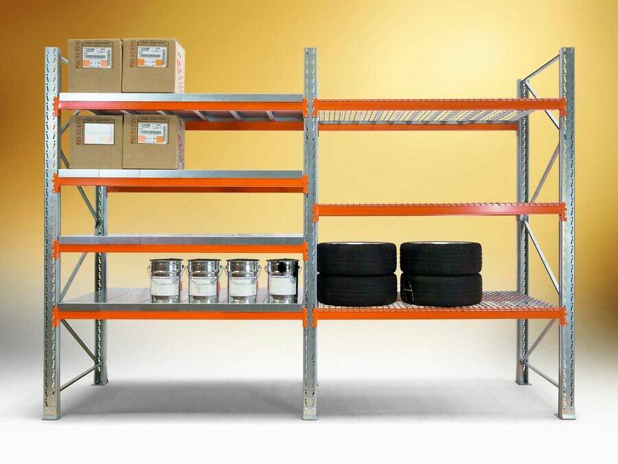 Kompaktes Schwerlastregal in Ausführung verzinkt / orange