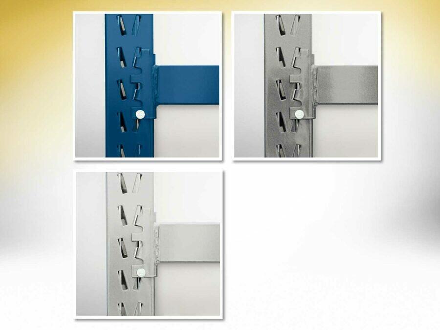 Das Lagerregal gibt es in den Standardfarben enzianblau, weißaluminium metallic und lichtgrau (individuelle Farben auf Anfrage)